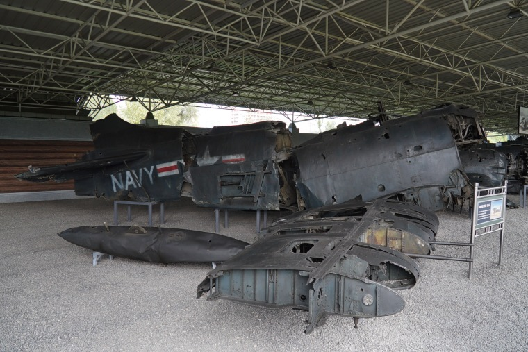 The remains of a US Navy Grumman F9-F5 Panther jet fighter are displayed at the Fatherland Liberation War Museum in Pyongyang.