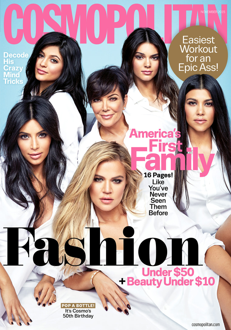 Members of the Kardashian/Jenner family appear on the cover of the Nov. 2015 issue of Cosmopolitan.