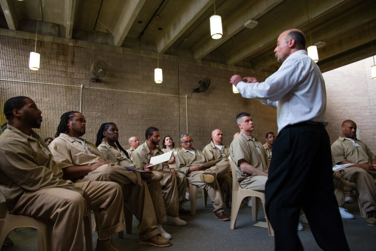 """April 22, 2015 - Leesburg, NJ.  Heart-to-Heart, a mindfulness and non-violent communication program, began at New Jersey's Bayside State Prison in about 2009. Heart-to-Heart founder Stephen Michael Tumolo believes that acting """"from the heart"""" is one way people can foster empathy, and from there, make thoughtful choices."""