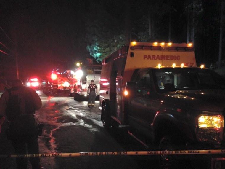 Emergency responders at the scene of the plane crash near South Lake Tahoe, California, Saturday, Oct. 10, 2015.