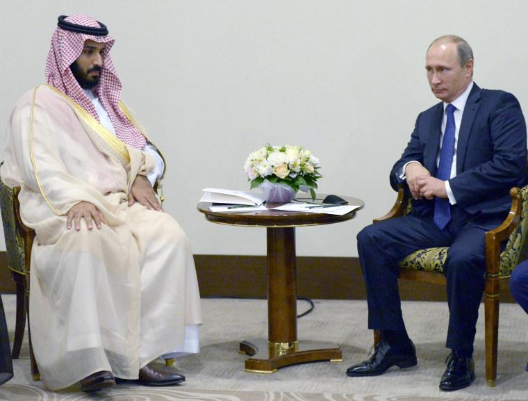 Image: Vladimir Putin, Mohammed bin Salman bin Abdulaziz Al Saud