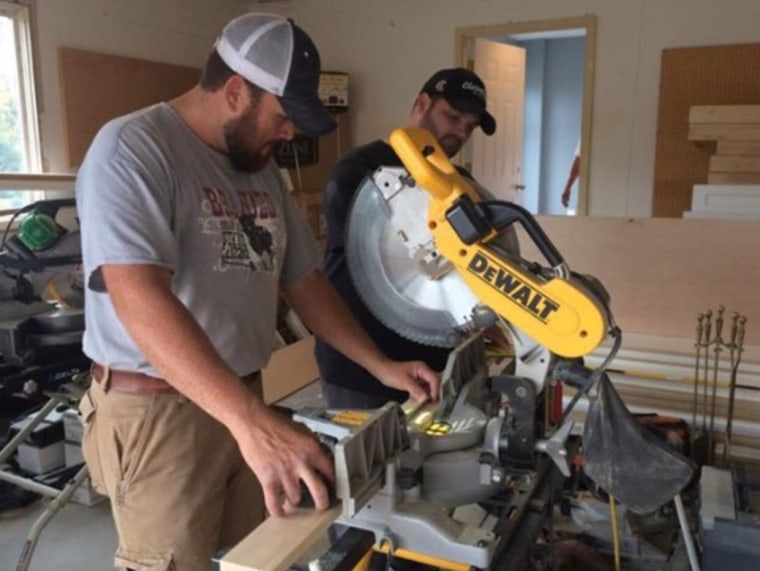 When they're not going viral, the Singing Contractors' Aaron Gray and Josh Arnett continue to work on home-improvement projects, which sometimes involve cutting trim.
