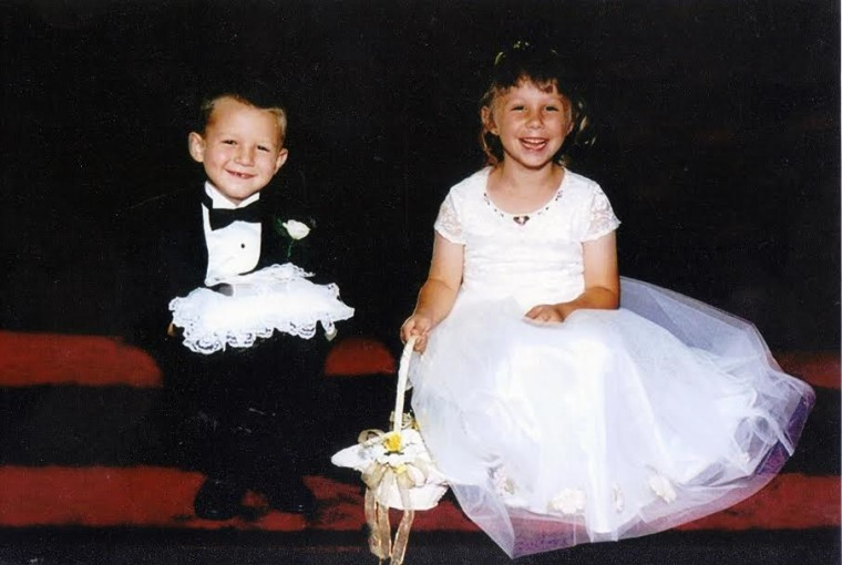 Brooke and Adrian Franklin, flower girl and ring bearer at a wedding 17 years ago, got married in September 2015