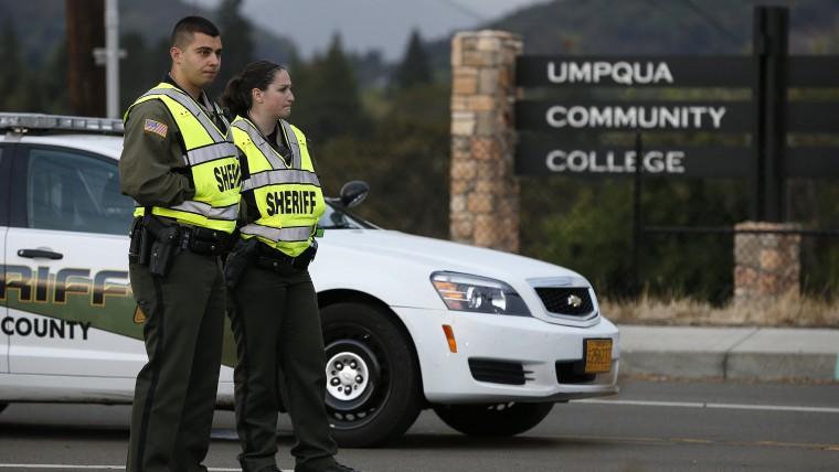 Roadblock on the road leading to Umpqua Community College