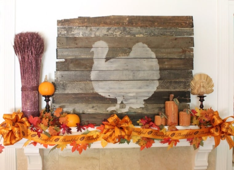 Fall decorating turkey mantel