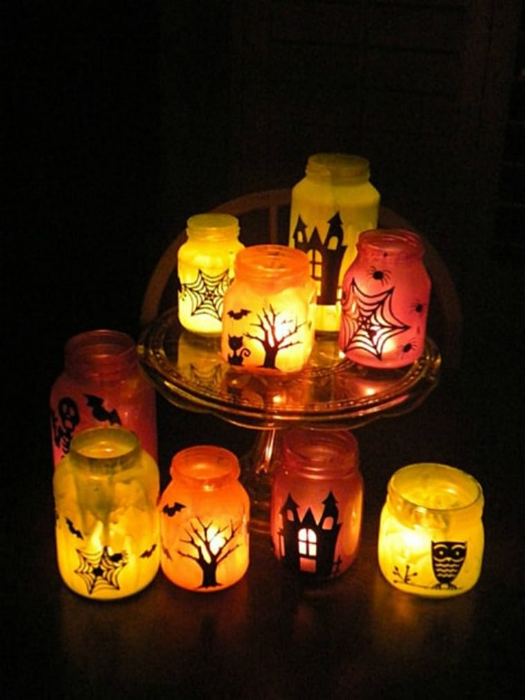 Fall decorating luminary jars