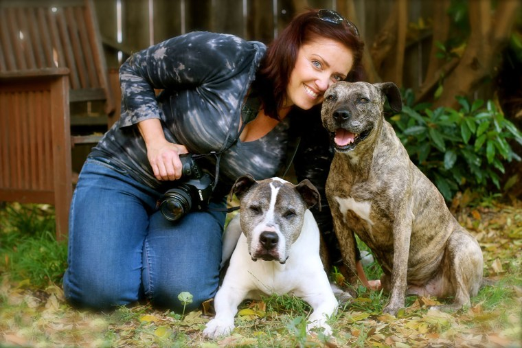 Photographer Lori Fusaro with her dogs Sunny and Gabby