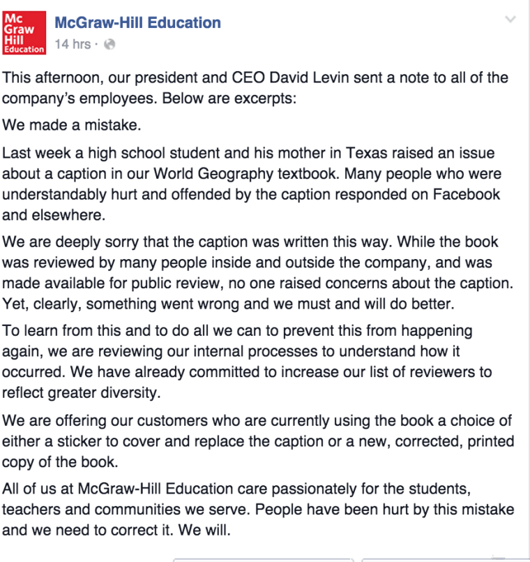A response from McGraw Hill president and CEO David Levin apologized for the inaccuracy.