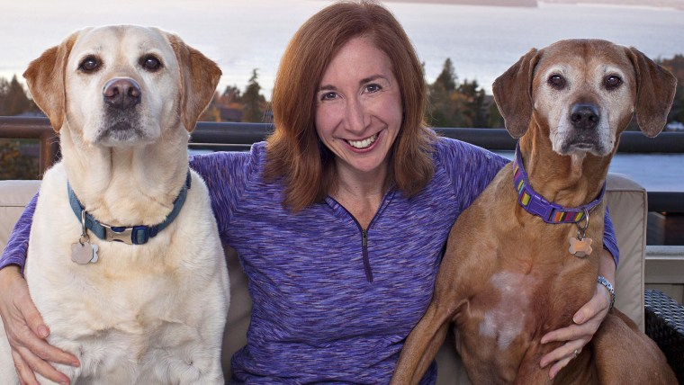 Laura Coffey with her dogs Manny and Frida