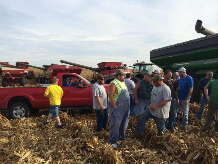 Friends and family of Carl Bates, a farmer with terminal cancer, rallied to bring in the harvest