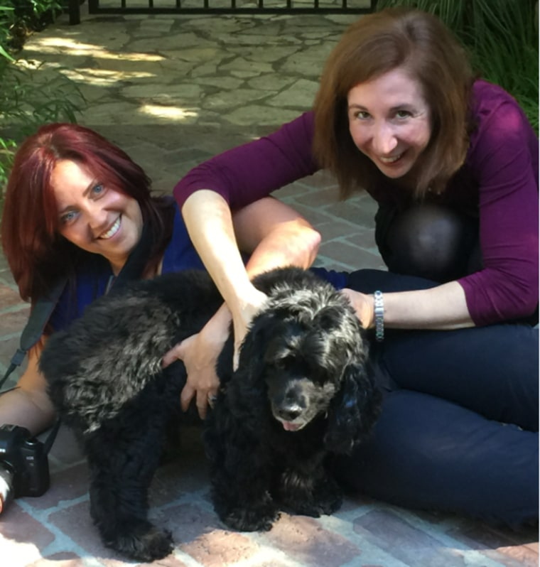 Lori Fusaro and Laura T. Coffey with George Clooney's dog, Einstein