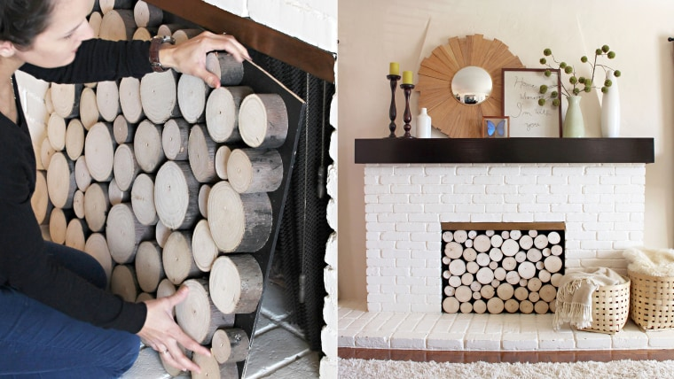 Fall decorating fireplace makeover