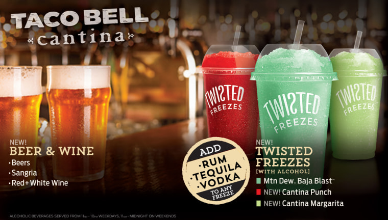 Drinks at Taco Bell Cantina -- tastes just like college!
