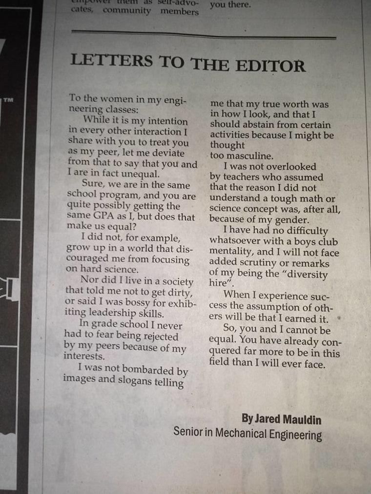 Engineering student's humble letter praises female peers