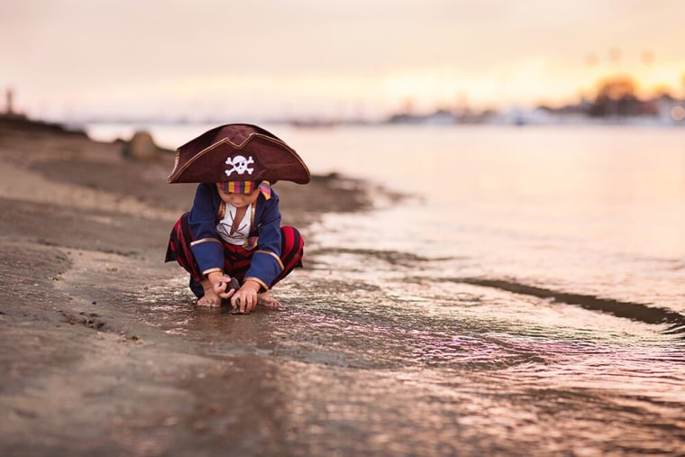 What better backdrop for a llittle pirate than the beach?