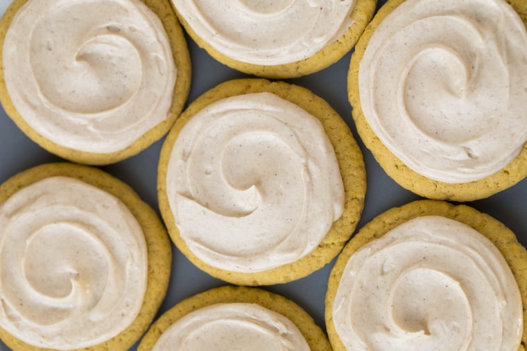 Pumpkin Sugar Cookies with Cinnamon Cream Cheese Frosting
