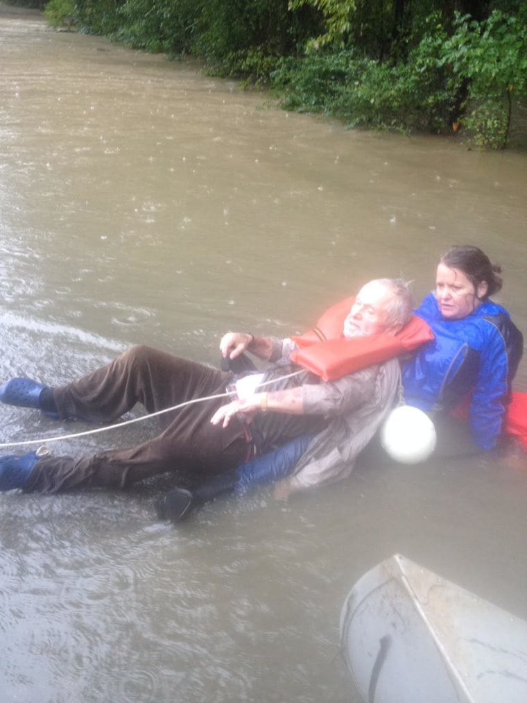 Julie Hall and George Osterhues during South Carolina flood rescue