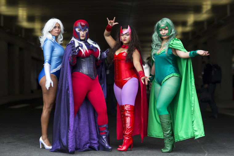 Image: Melonie DeJesus, Jessica Caamano, Mariaysabel Vega and Nathali Sanabria pose as Quicksilver, Magneto, The Scarlet Witch and Polaris on day two of New York Comic Con in Manhattan, New York