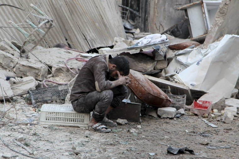 Image: Aftermath of airstrike in Aleppo, Syria, on Sept. 20