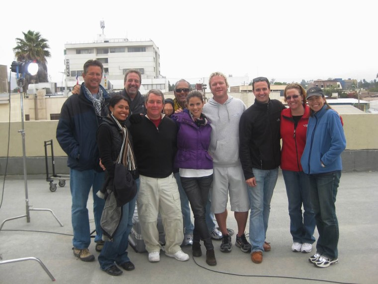 NBC News crew: from left to right, Jorge Pujol, and in back: Carlos Rigau, Tony Zumbado, Cory Leibin, Chapman Bell, Susane Becerra and Erika Angulo. At foreground from left, Olivia Santini, Kerry Sanders and Natalie Morales.