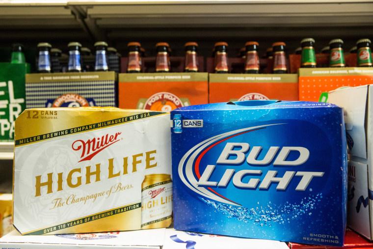 Image: Miller LIte and Budweiser bottles