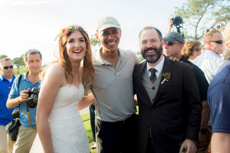 Image: Stephanie Mirkin and Brian Tobe are pictured with U.S. President Obama Obama during their wedding at The Lodge at Torrey Pines in La Jolla, California