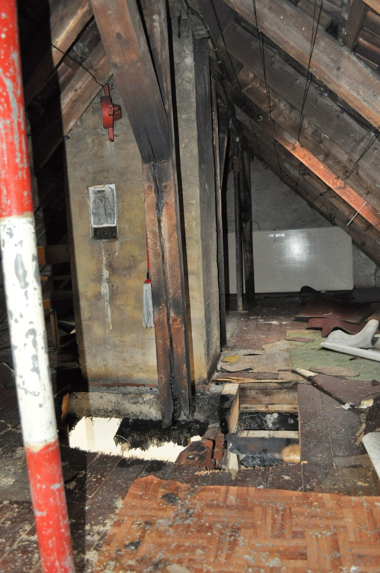 Image: Burnt attic in Altena, Germany