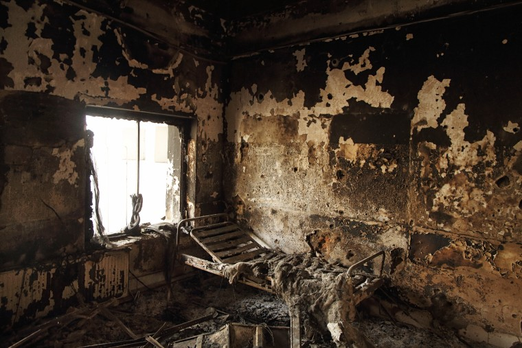A bed frame remains in a room of the Outpatient Department building at the Doctors Without Borders hospital in Kunduz, Afghanistan.