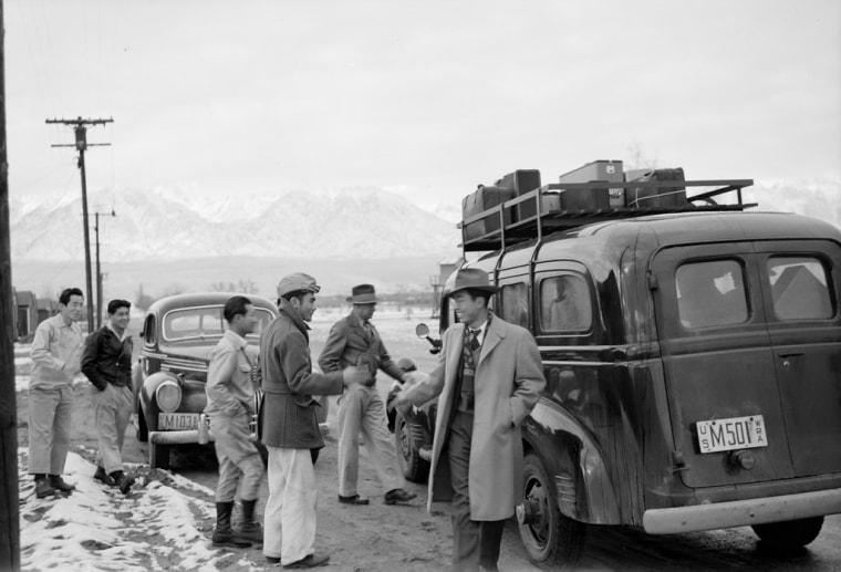 Japanese Americans leaving Manzanar concentration camp (California).