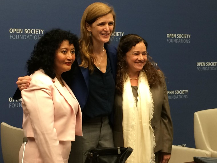 Judge Iris Yassmin Barrios Aguilar, who presides over one of Guatemala's High Risk Tribunals, at left, and Dr. Claudia Paz y Paz Bailey, who became Guatemala's first female attorney general in 2010, at right, the recipients of the 2016 Annual Civil Courage Prize. In the middle is Samantha Power, U.S. Ambassador to the U.N.
