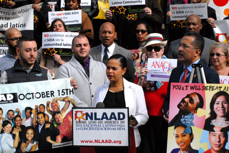 Bethsy Morales of the Hispanic Federation speaks in New York City on the importance of getting tested for HIV.