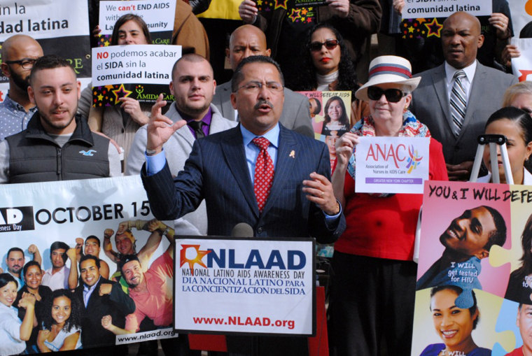 Guillermo Chacon, president of the Latino Commission on AIDS, at a ceremony in New York City marking National Latino AIDS Awareness Day.