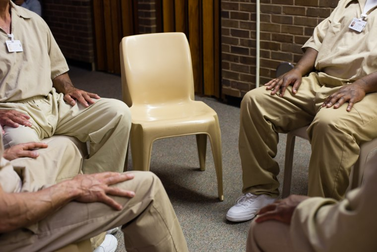 April 22, 2015 - Leesburg, NJ. Heart-to-Heart students meet each Wednesday afternoon in the chapel of Bayside State Prison. The 90-minute sessions begin with a few moments of silent meditation.