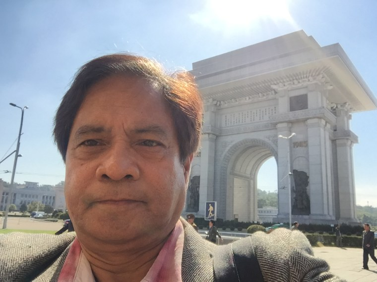 Image: Eric Baculinao at Pyongyang's Arch of Triumph