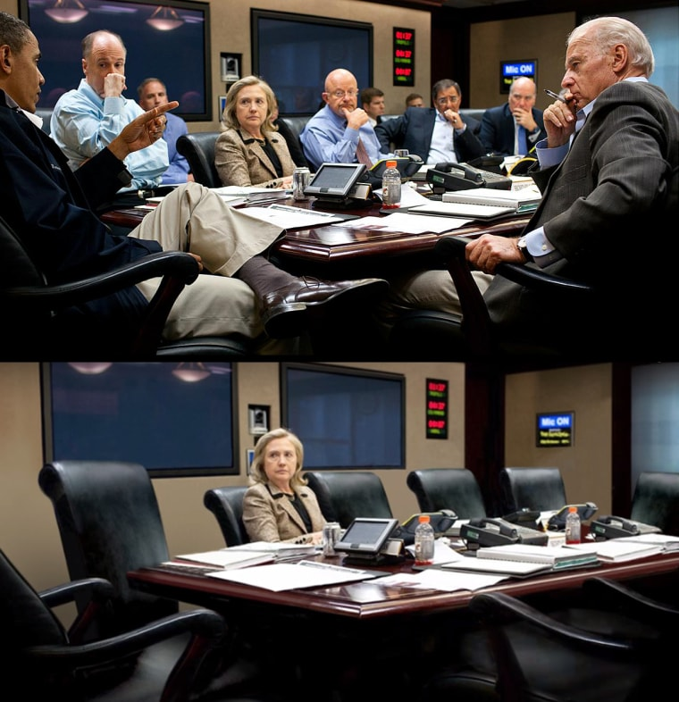 President Obama meets with his national security team in the Situation Room of the White House discussing the mission against Osama bin Laden.