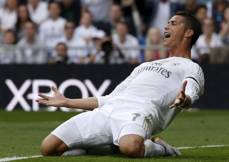 Image: Real Madrid's striker Cristiano Ronaldo reacts during their Spanish First Division soccer match against Levante at Santiago Bernabeu stadium in Madrid