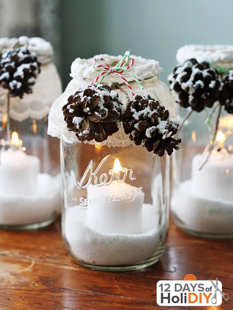 Holiday decorating pinecone mason jars