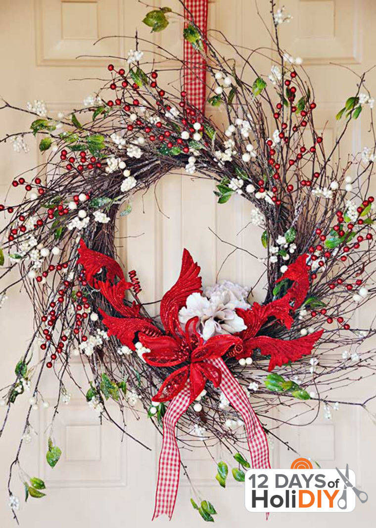 Holiday decorating twig wreath