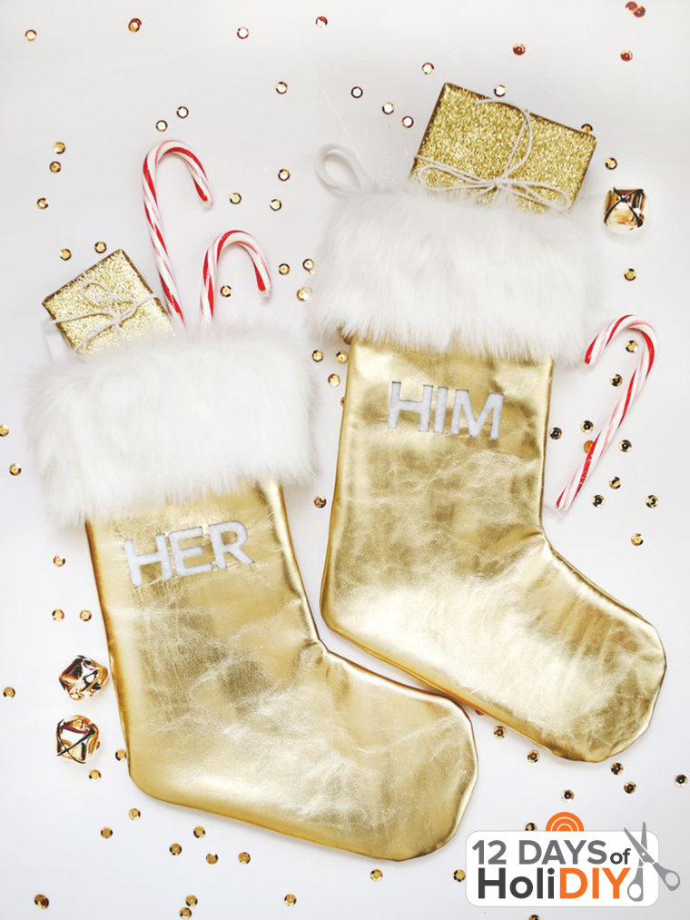 Gold leather and fur stockings