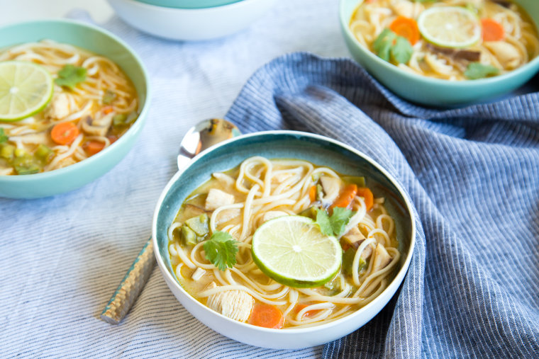 Coconut curry soup with chicken and noodles