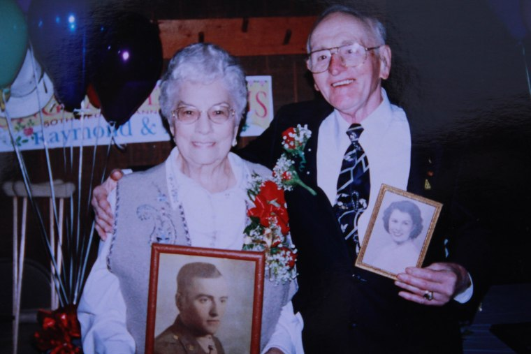 """At Mazie and Raymond Huggins' 50th anniversary. They say the secret to their long marriage is being able to """"give and take."""""""