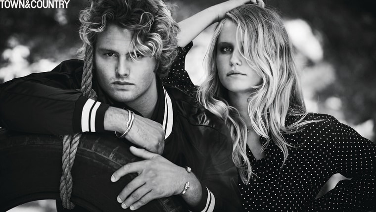In the November issue of Town & Country magazine, the siblings pose together in black-and-white shots by Matthew Brookes.