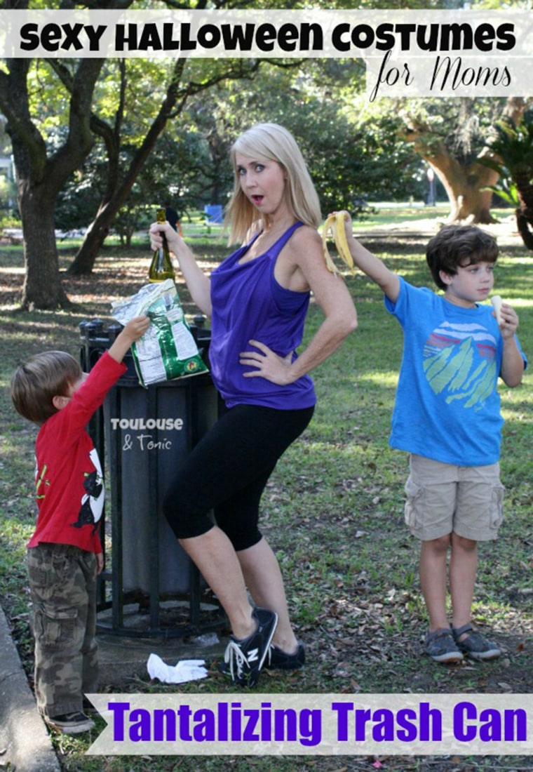 """With all the sexy costumes out there, Halloween has become the trashiest holiday around – but this year, nobody will be trashier than you in our Tantalizing Trash Can costume. Yoga pants starting to smell? Don't toss them, just put them on again and add our purple """"athleisure"""" top that's loose enough to hide all the garbage that you've been eating. You'll need to add your own banana peel and empty bag of Pirate's Booty but the kids come with the costume if they don't stop fighting right this minute. Sold out in L, XL and XXL. - Suzanne, Toulouse and Tonic"""