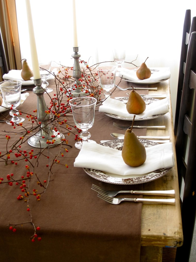 Thanksgiving Table with Bittersweet and Bosc Pears