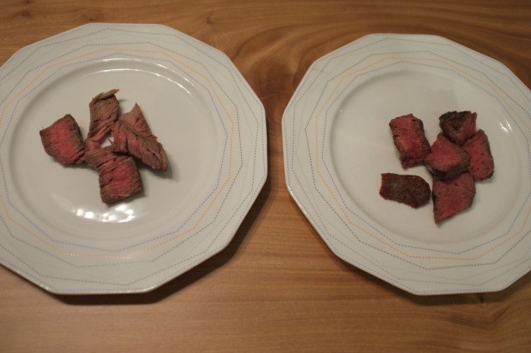 Grass-fed steak (right) vs steak from conventionally raised beef