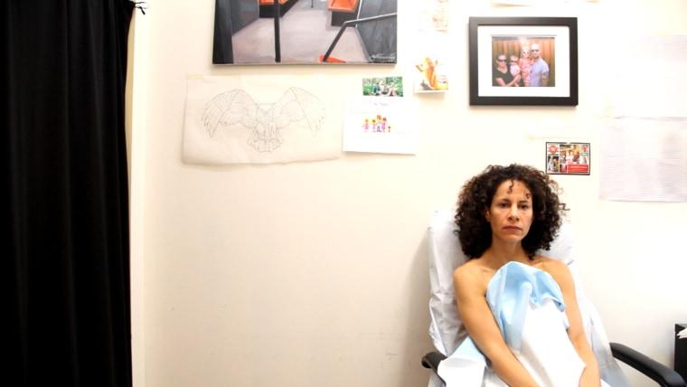 Nipple tattoo client awaits her appointment with Trent Wyczawski