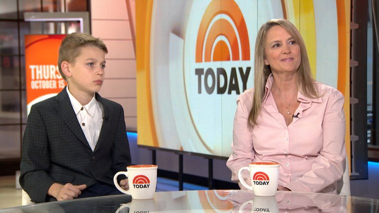 Jennifer Connell, right, with her nephew Sean Tarala on TODAY on Thursday.