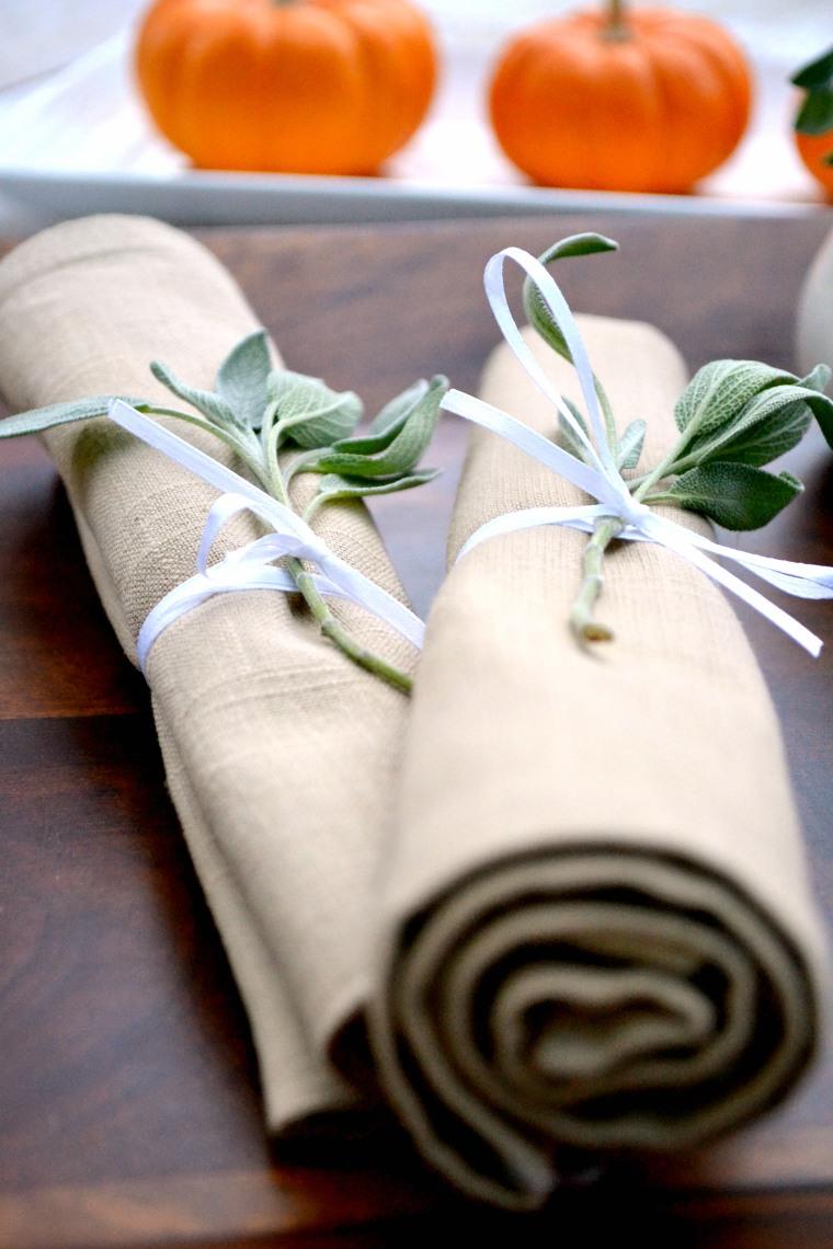 Thanksgiving Sage-Wrapped Napkins