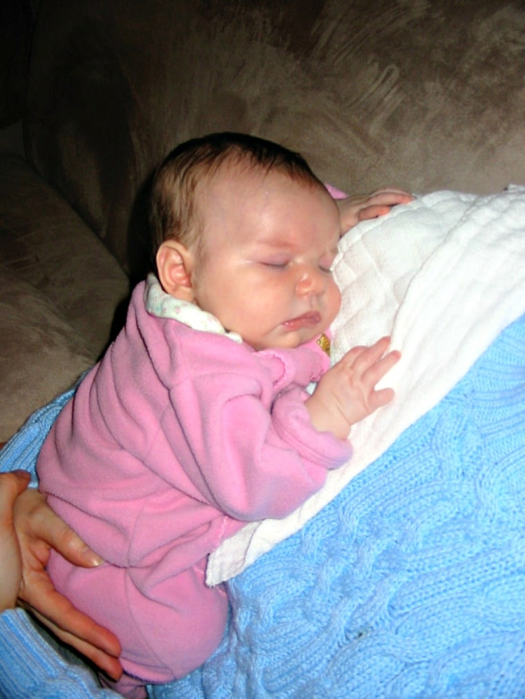 The author was diagnosed with postpartum depression following the birth of her second daughter, shown here as an infant.