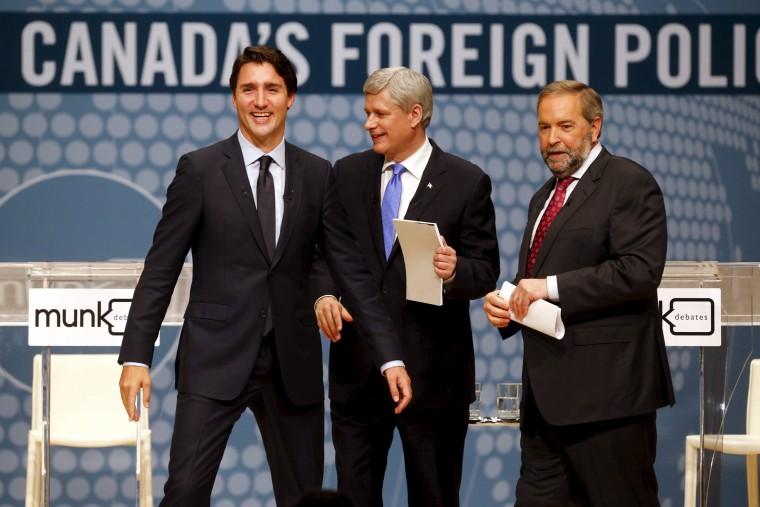 Image: Justin Trudeau, Stephen Harper and Tom Mulcair